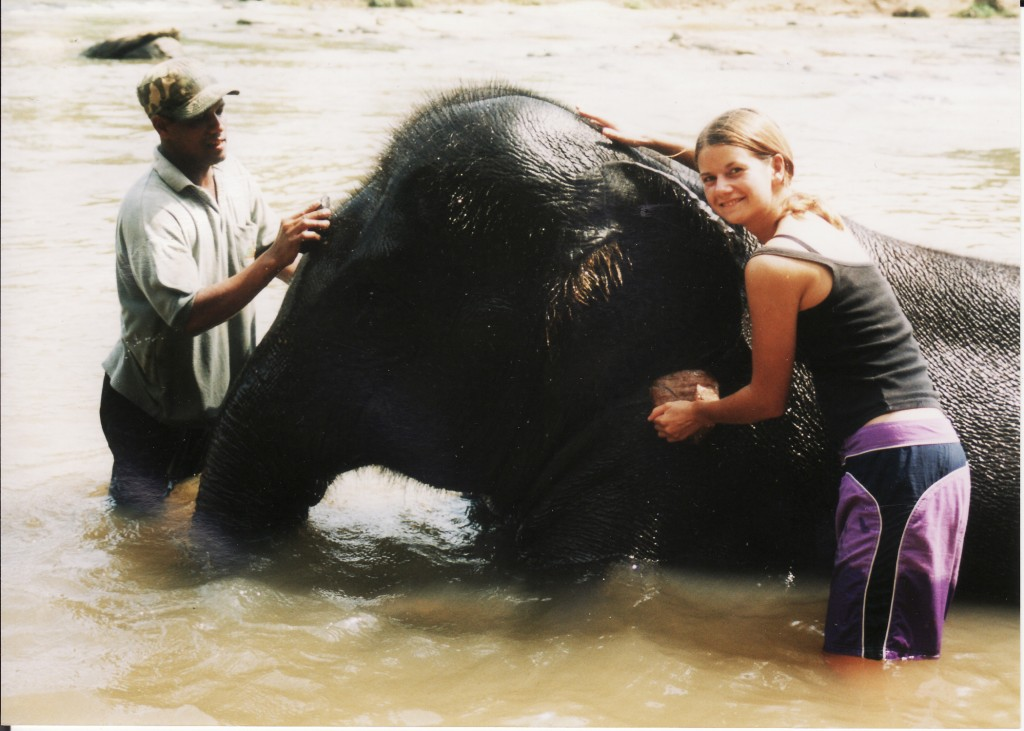 Erin volunteering at an elephant orphanage in Sri Lanka