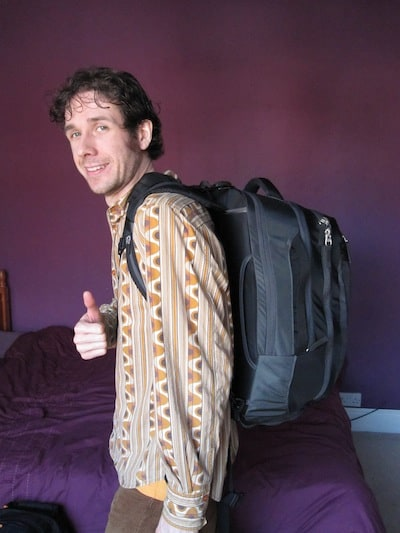 Simon with his fully packed 40 litre backpack