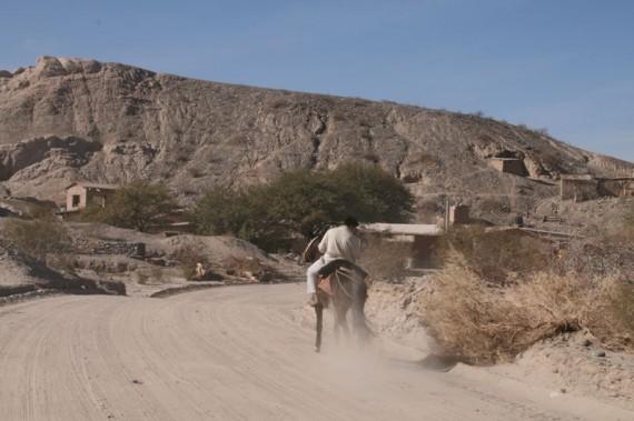 Man on horse in Argentine village