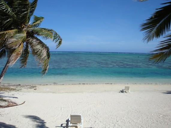 View from our beach hut at Paradise Cove, Aitutaki