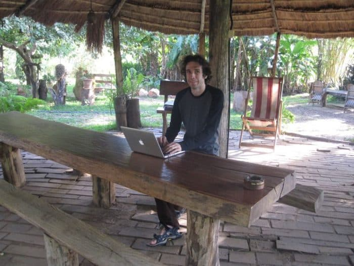 Simon's digital nomad office at Granja El Roble, Paraguay
