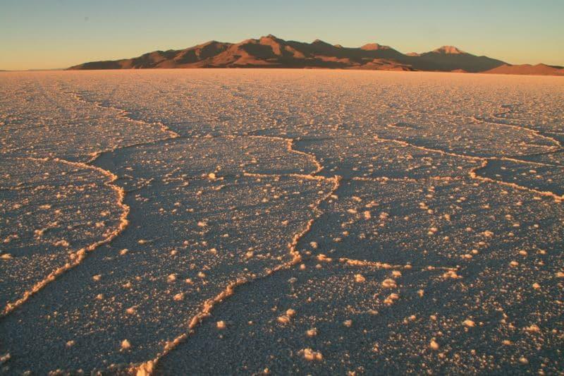 Sun Rising over the Bolivian salt flats (Salar de Uyuni)