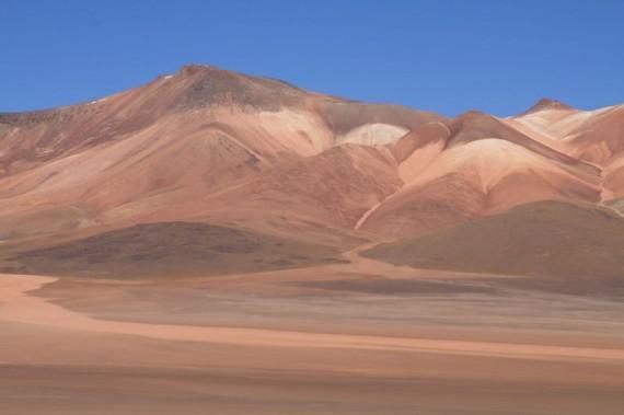 Watercolour shaded mountains on Salt Flats tour, Bolivia