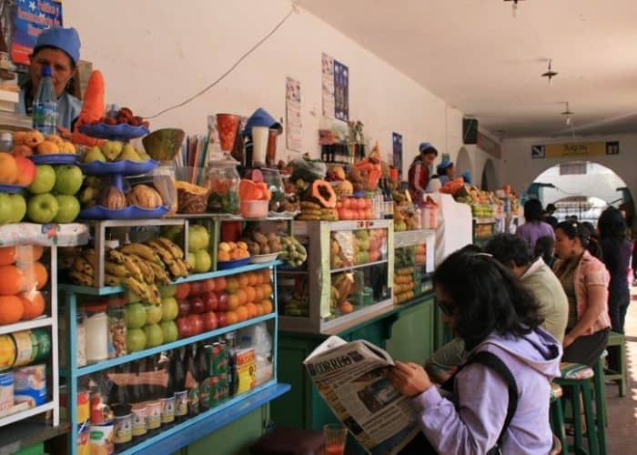 Juice stalls in the Mercado Central, Sucre