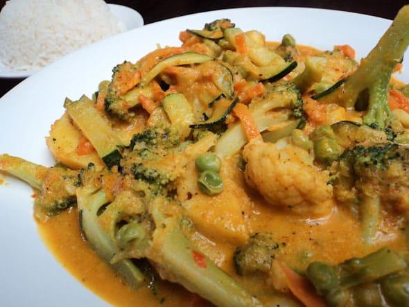 Vegetarian Curry at Govindas, Cuenca, Ecuador