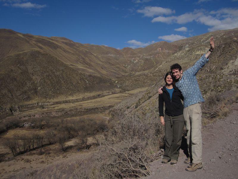 Us at La Cuesta del Obispo while road tripping in Northwest Argentina