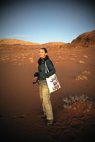 Travel Writer Lara Dunston at Wadi Rum, Jordan.