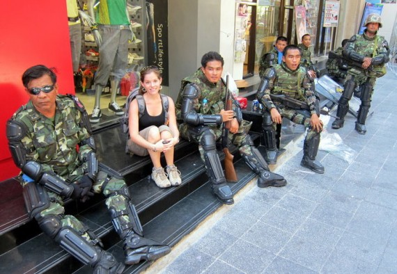 Jodi with soldiers during the Bangkok protests