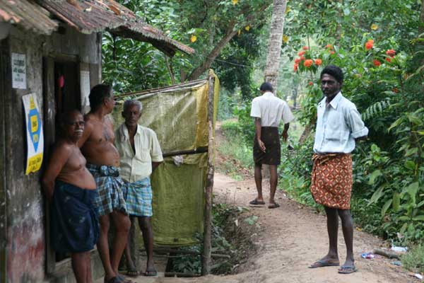Meeting locals in the Kerala Backwaters