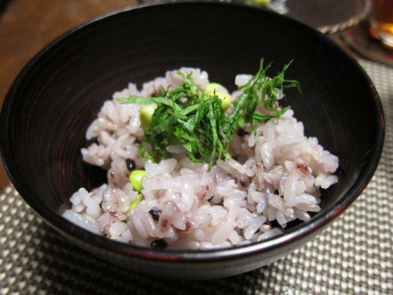 Purple rice with endamame and shiso