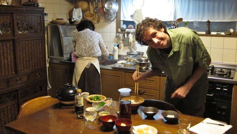 Simon cooking at Uzuki Cooking Class, Kyoto