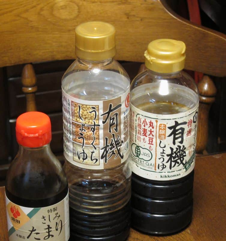Three types of soy sauce