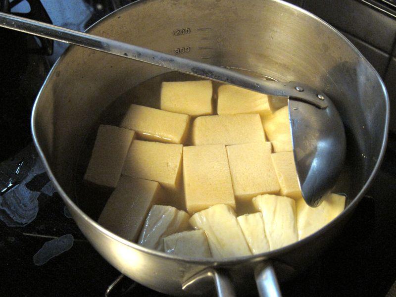 Yuba and koyadofu tofu cooking
