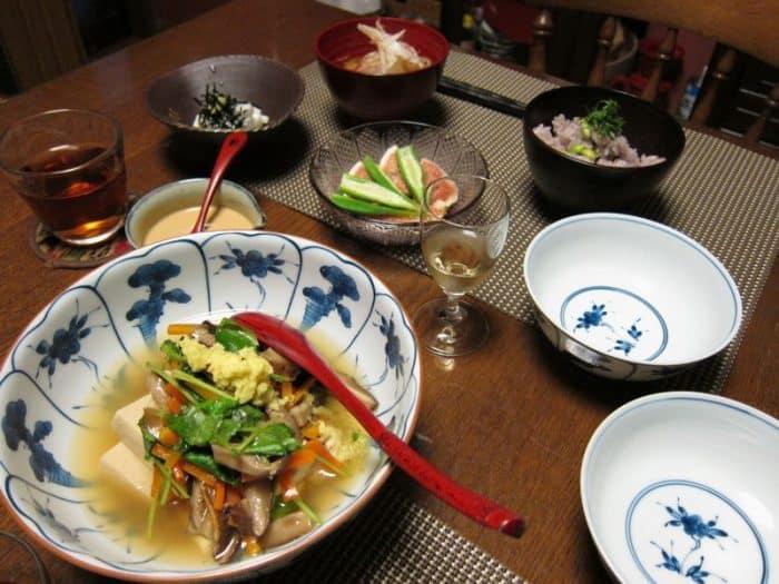 Vegetarian meal at Uzuki Kyoto Cooking Class