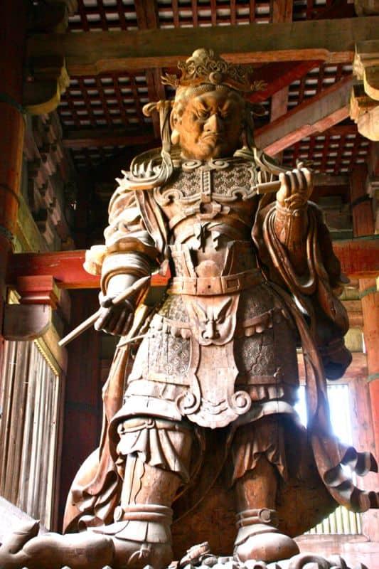 Nio or guardian statue at Todai-ji temple in Nara, Japan