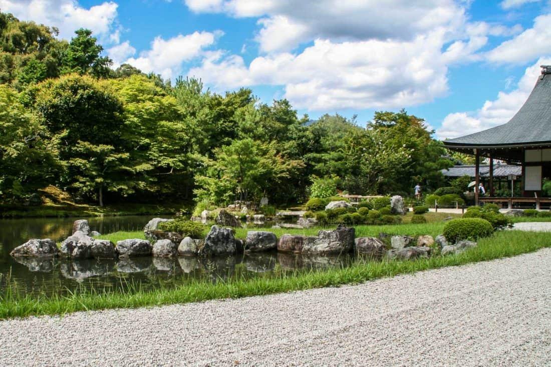 Zen garden and pond at Tenryu-ji temple in Kyoto, Japan