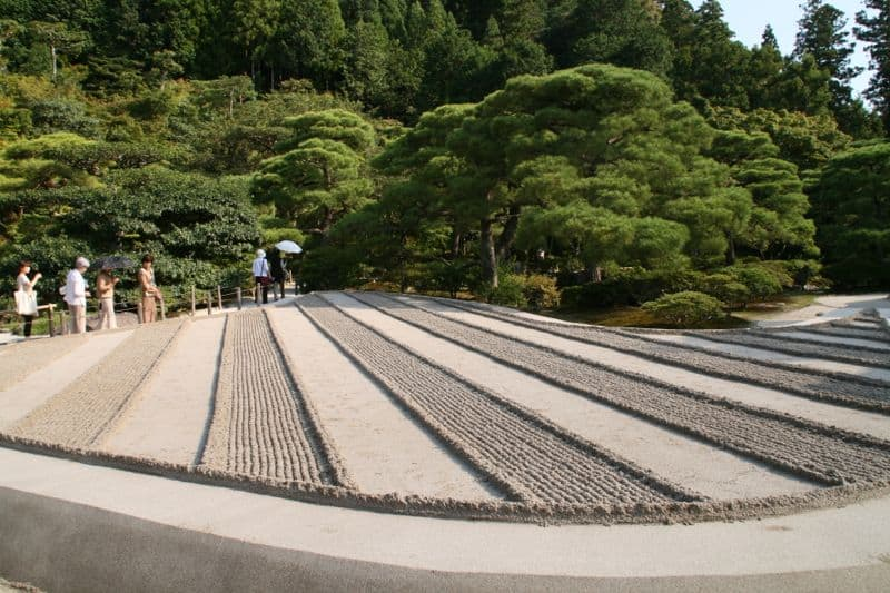 Zen garden at Ginkakuji temple in Kyoto, Japan