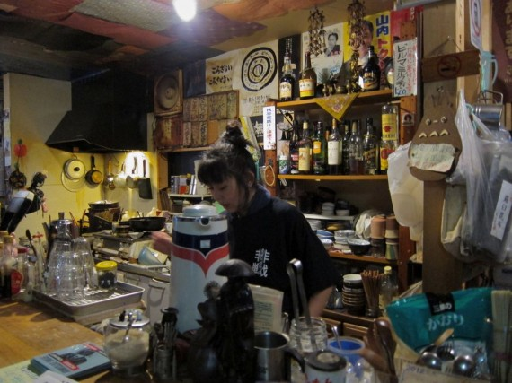 The kitchen behind the counter at Mikoan, Kyoto