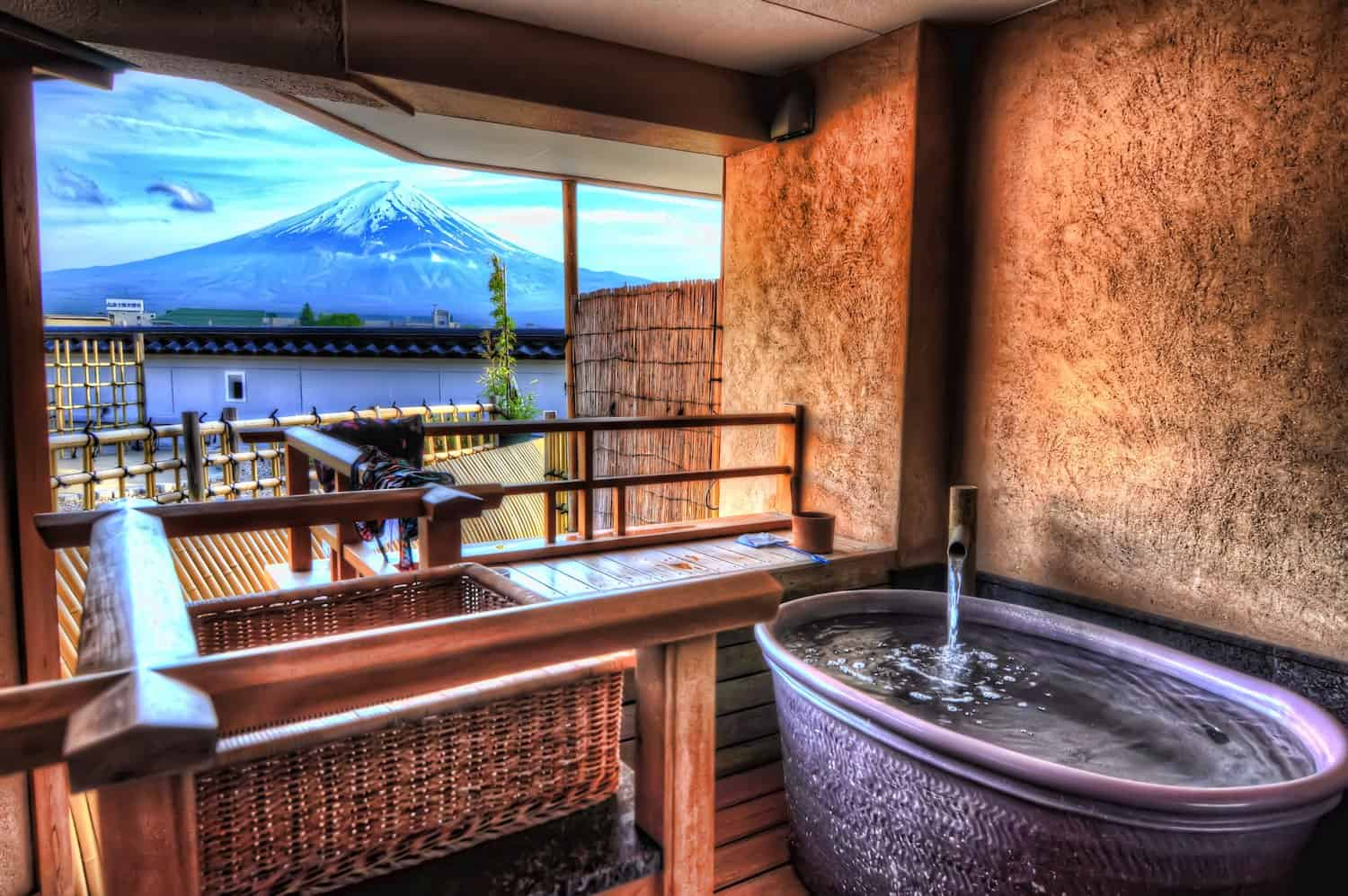 Mt Fuji view from Hotel Konanso, a ryokan in Kawaguchiko, one of the best places to stay in Japan.
