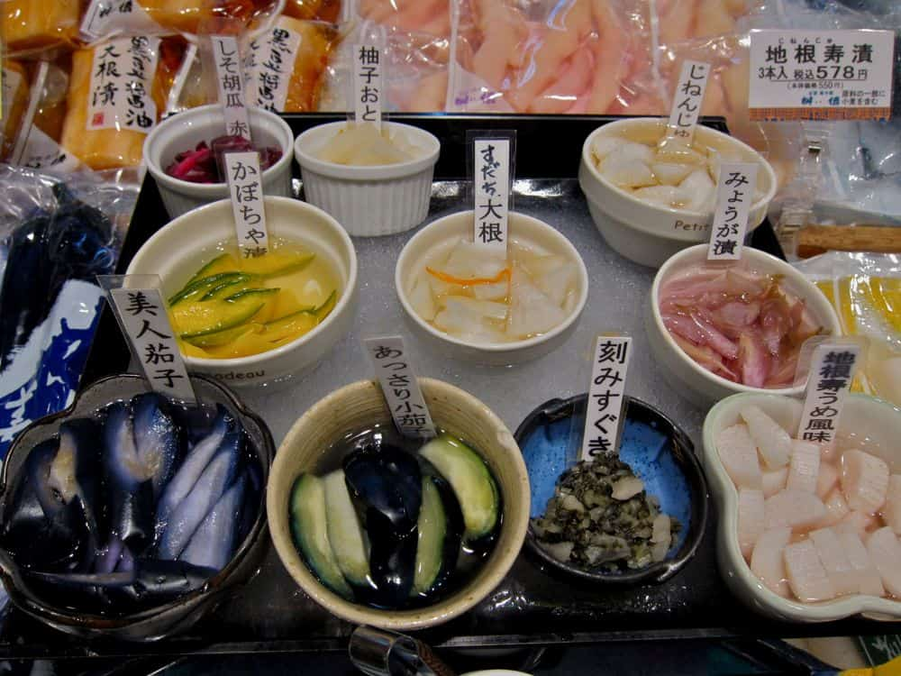 Tsukemono pickles at Nishiki Market in Kyoto