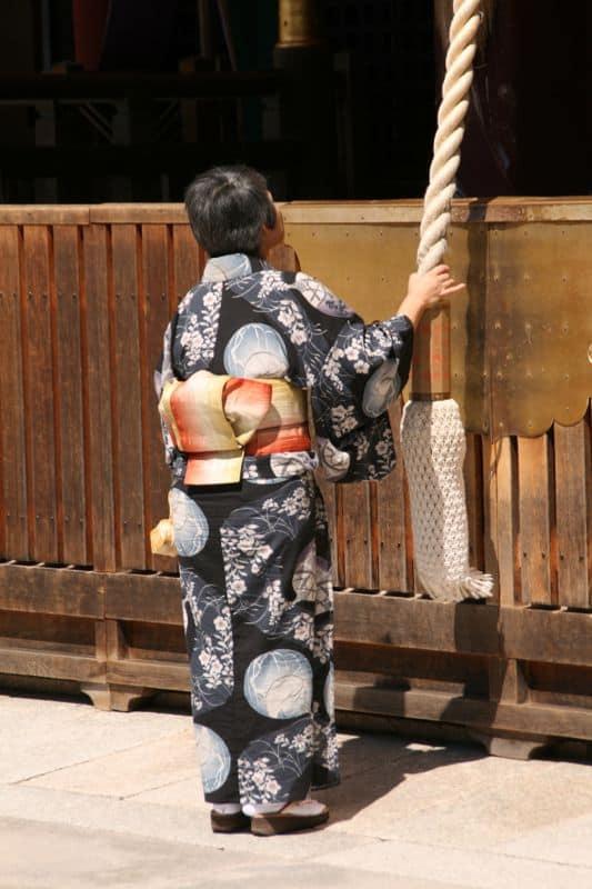 Woman in kimono at Yasaka Shrine