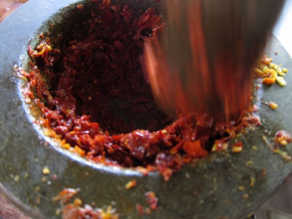 Pounding curry paste