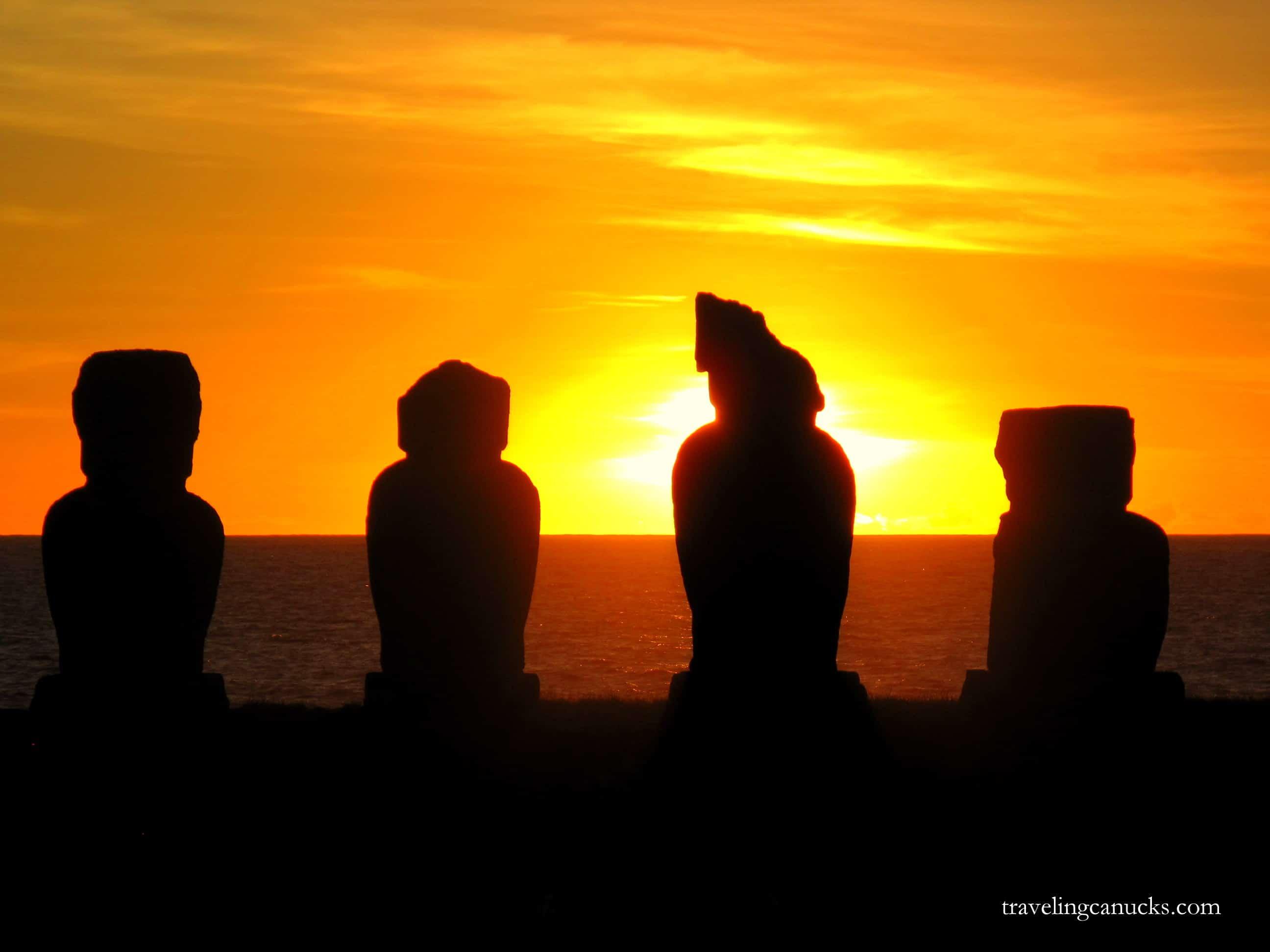 Moai at sunset on Easter Island