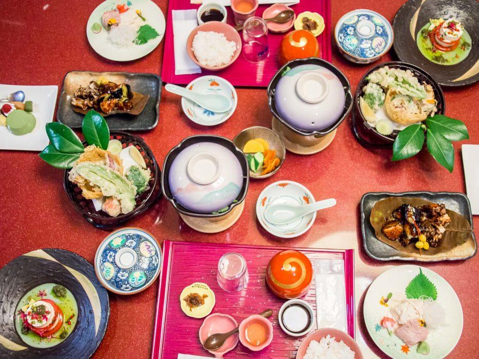 Vegetarian ryokan dinner at Hotel Musashiya, Hakone