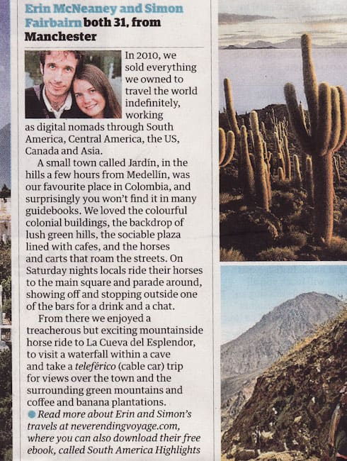 Never Ending Voyage South America tip in The Guardian