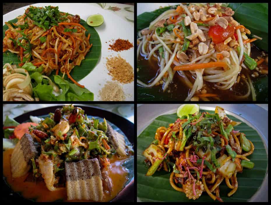 Pad thai, som tam, wing bean salad, & noodles at Pun Pun