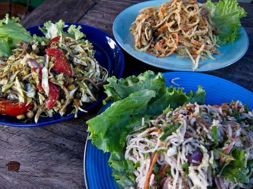 Tea leaf salad, Shan papaya salad, Shan noodle salad