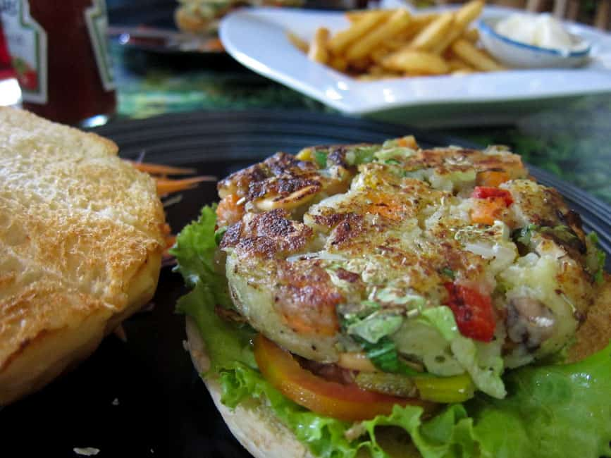 Veggie burger at Peppermint Cafe, Chiang Mai
