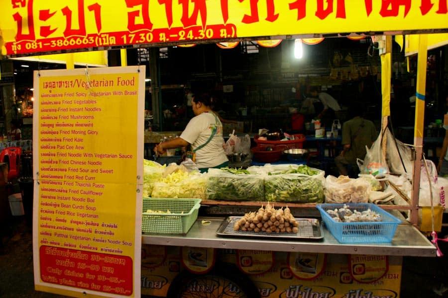 Vegetarian stall at Chiang Mai Gate market