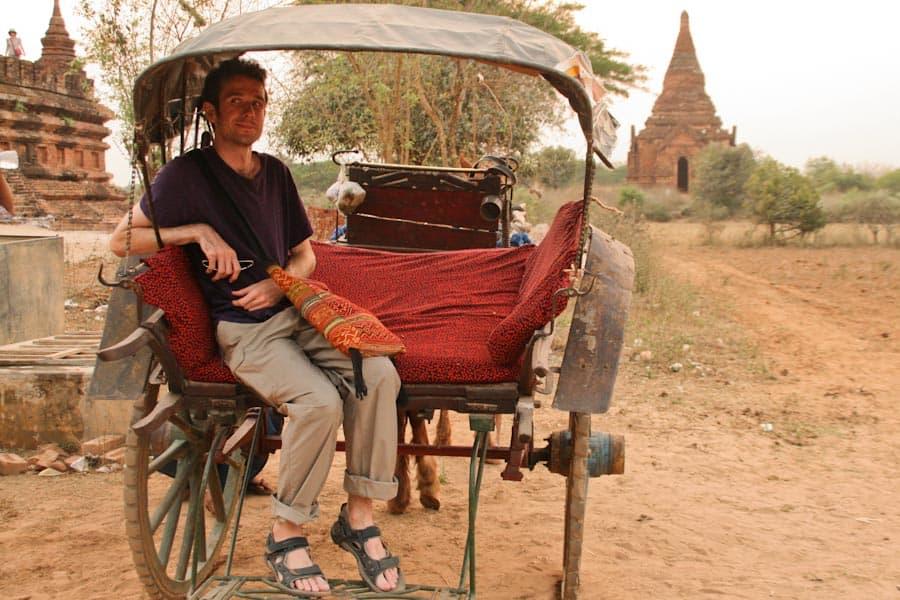 Simon on a horse cart in Bagan