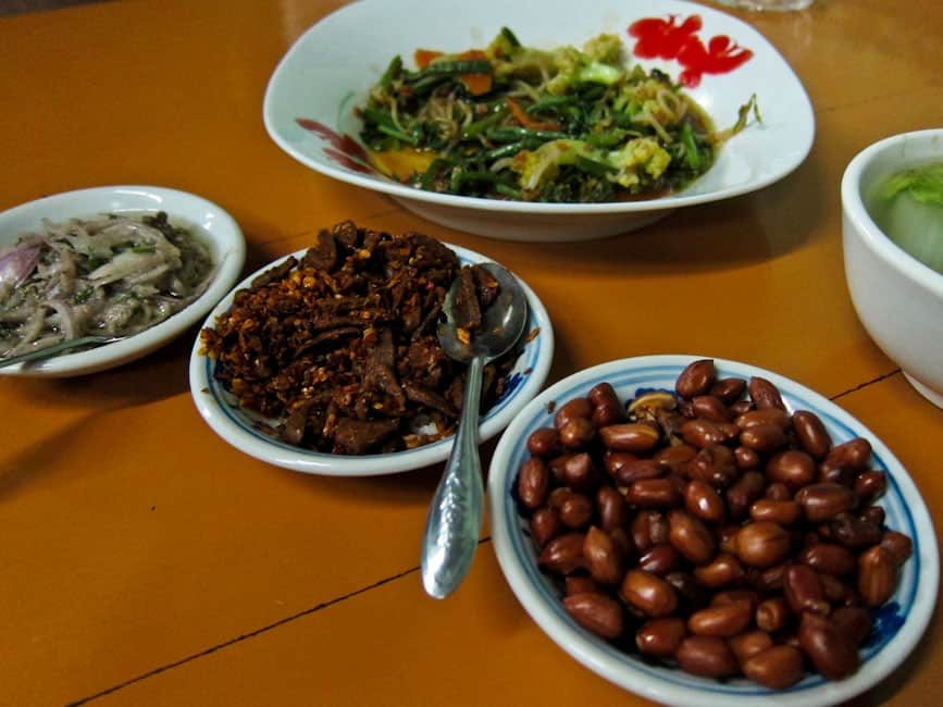 A traditional Myanmar meal