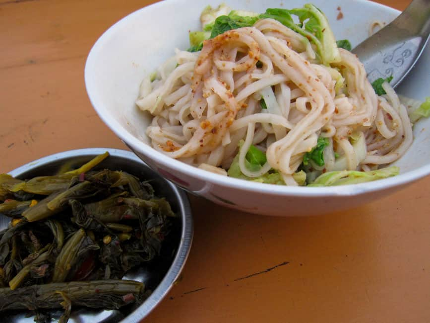 Shan noodles and pickles for $0.60
