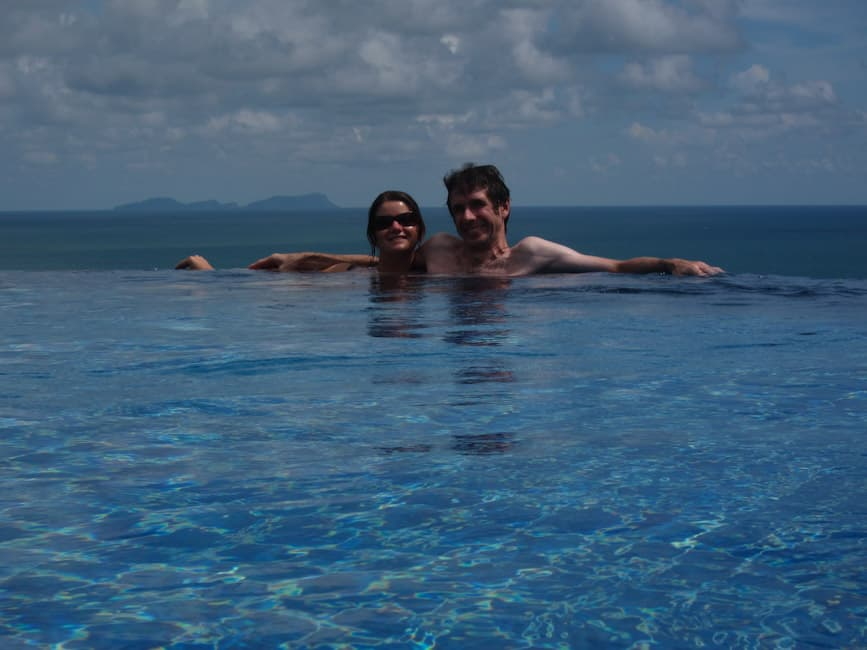 Us in the Infinity Pool at Baan KanTiang See