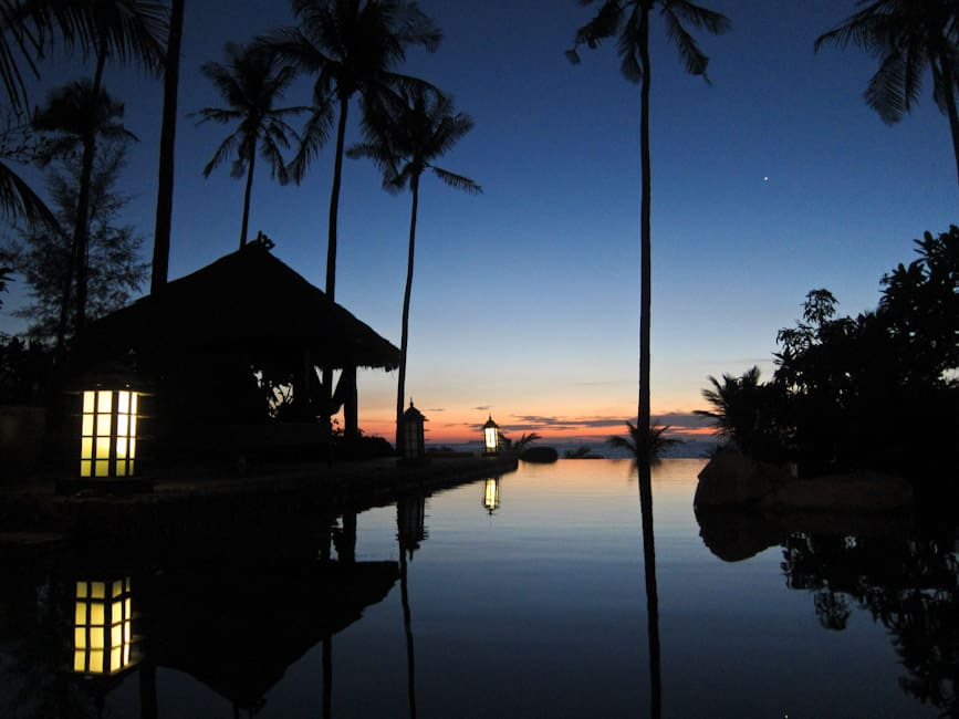 Evening at our private infinity pool