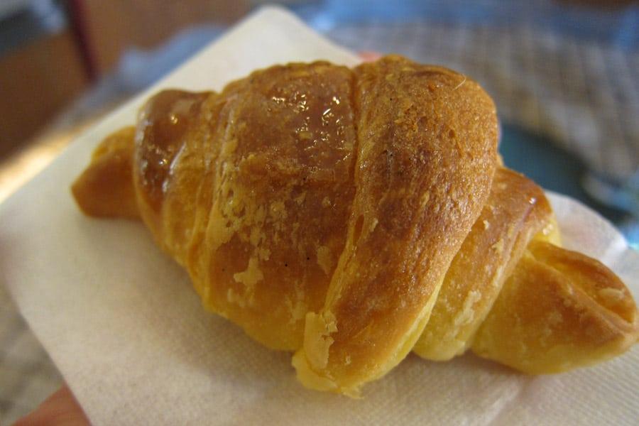 An Italian Cornetto - the first stop on our Eating Italy Taste of Testaccio Rome food tour