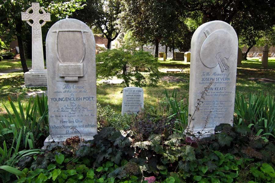 Keats grave at Campo Cestio cemetery in Testaccio, Rome