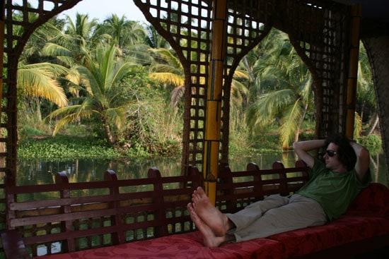 Relaxing on a houseboat, Kerala, India