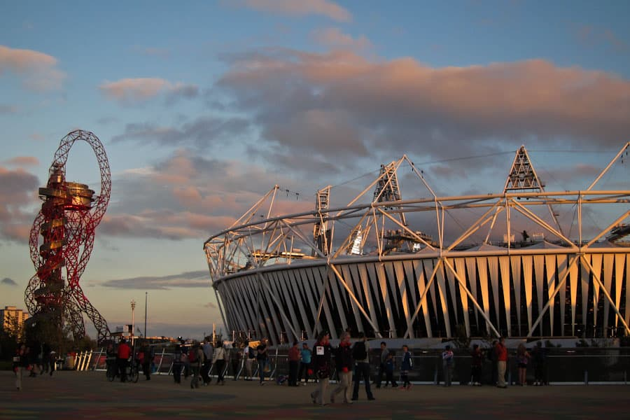 Olympic stadium sunset