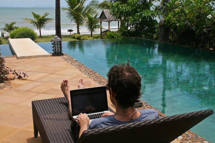 Simon working at our beach villa on Koh Lanta, Thailand