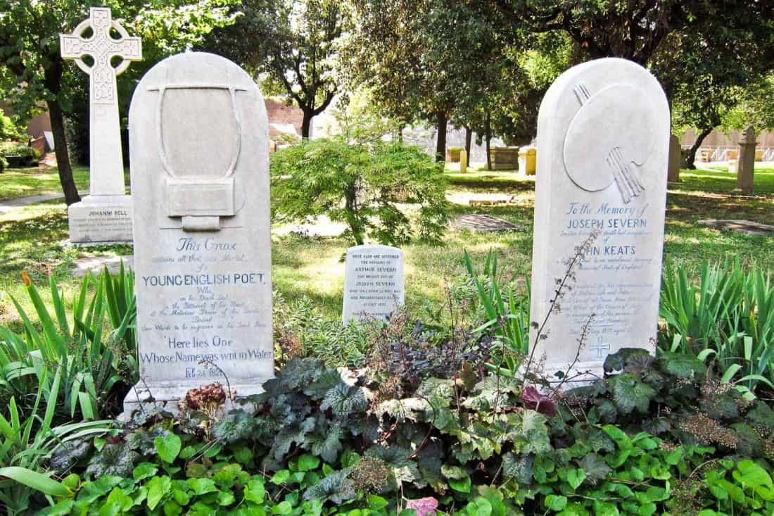 Keats' grave in the non-Catholic cemetery Campo Cestio in Testaccio, Rome
