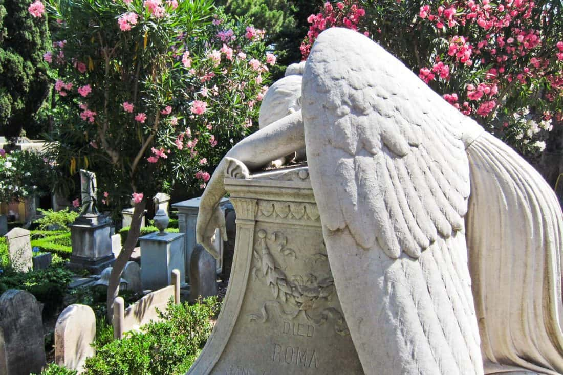 Angel on Emelyn Story's grave in non-Catholic cemetery in Testaccio, Rome