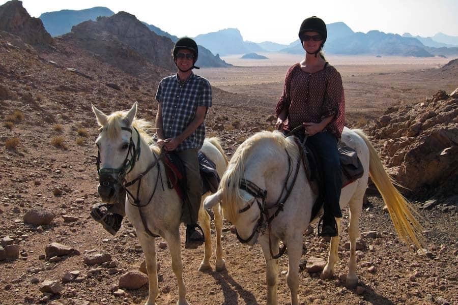 Us horse riding in Wadi Rum