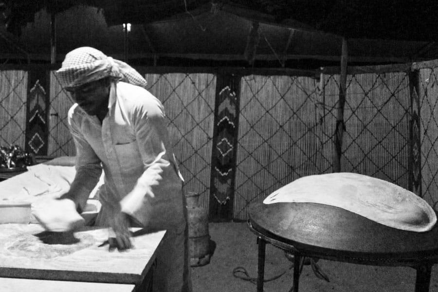 Making shrak bread at Captain's Camp, Wadi Rum