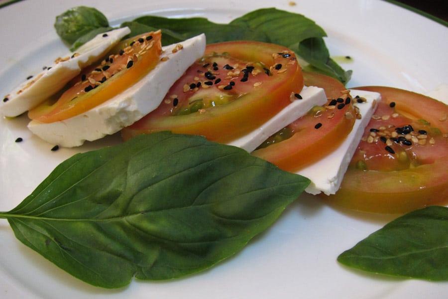 Tomato, goats cheese and basil salad