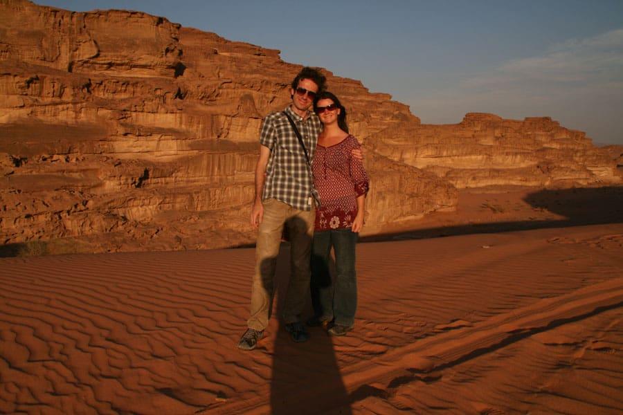 Us at Wadi Rum sand dunes
