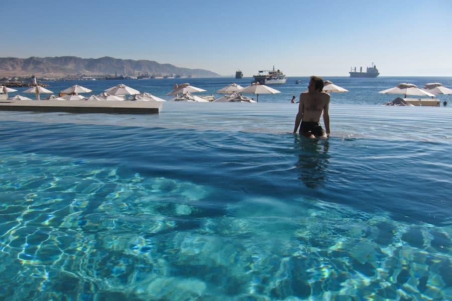 Simon in Kempinski Aqaba pool